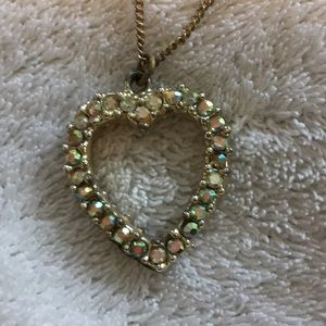 Vintage sparkly & pearl heart necklace